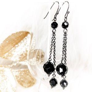 Dangle Earrings Black Bead